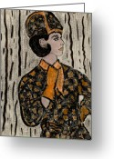 1960s Fashion Greeting Cards - Retro Sixties Model in Black and Orange Greeting Card by Sonya Chalmers