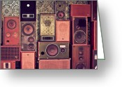 Speakers Greeting Cards - Retro Speakers Greeting Card by Ariane Moshayedi