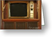 Oldfashioned Greeting Cards - Retro Style Television Set Greeting Card by Yali Shi