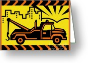 Tire Greeting Cards - Retro Tow truck Greeting Card by Aloysius Patrimonio