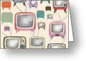 Fabric Greeting Cards - retro TV pattern  Greeting Card by Setsiri Silapasuwanchai