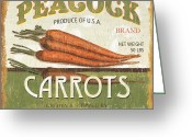 Food And Beverage Painting Greeting Cards - Retro Veggie Label 2 Greeting Card by Debbie DeWitt