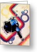 Chic Greeting Cards - Retro Vespa Scooter Greeting Card by Michael Tompsett