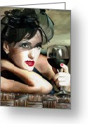 Portraits Greeting Cards - Retro Woman Greeting Card by James Shepherd