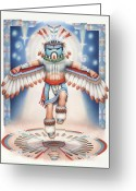 Hopi Greeting Cards - Return of the Blue Star Kachina - Alignment 2012 Greeting Card by Amy S Turner