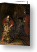 Oil Canvas Greeting Cards - Return of the Prodigal Son Greeting Card by Rembrandt Harmenszoon van Rijn