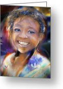 Haitian Greeting Cards - Returning A Smile Greeting Card by Bob Salo