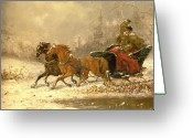 Sleigh Ride Greeting Cards - Returning Home in Winter Greeting Card by Charles Ferdinand De La Roche