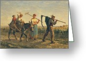 Scythe Greeting Cards - Returning Home Greeting Card by Jules Veyrassat