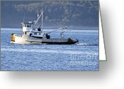 Commencement Bay Greeting Cards - Returning to port Greeting Card by Sean Griffin