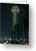In Focus Greeting Cards - Reunion Tower by Night Greeting Card by John Kain