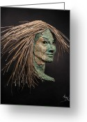 Portrait Reliefs Greeting Cards - Revealed Greeting Card by Adam Long