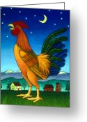Rooster Painting Greeting Cards - Reveille Greeting Card by Stacey Neumiller