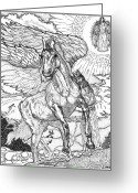 Inspirational Drawings Greeting Cards - Revelation   Return Of The King Greeting Card by Glenn McCarthy Art and Photography