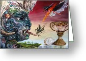 Fantastic Realism Greeting Cards - Revelation 20 Greeting Card by Otto Rapp