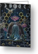 Honeycomb Greeting Cards - Reverence  Connection  Protection Greeting Card by Sheri Howe