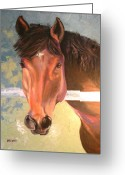 Bay Horse Greeting Card Greeting Cards - Reverie Greeting Card by Susan A Becker