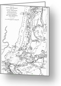 New York City Map Greeting Cards - Revolutionary War Plan Greeting Card by Granger