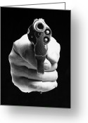 Threat Greeting Cards - Revolver Aimed At You Greeting Card by Granger