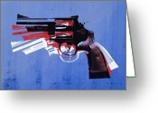 Pop Art Digital Art Greeting Cards - Revolver on Blue Greeting Card by Michael Tompsett