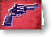 Pop Art Mixed Media Greeting Cards - Revolver on Red Greeting Card by Michael Tompsett