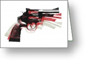 Pop Art Digital Art Greeting Cards - Revolver on White - right facing Greeting Card by Michael Tompsett