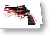 Pop Art Digital Art Greeting Cards - Revolver on White Greeting Card by Michael Tompsett