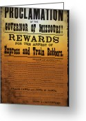 Outlaw Greeting Cards - Reward for Frank and Jesse James Greeting Card by Bill Cannon