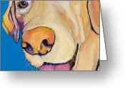 Yellow Dog Greeting Cards - Rex Greeting Card by Pat Saunders-White