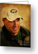 Boston Stadium Greeting Cards - Rex Ryan - New York Jets Greeting Card by Lee Dos Santos