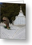 Dinosaurs Greeting Cards - Rex through roof of the conservatory Greeting Card by Garry Gay