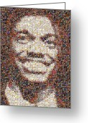 Player Mixed Media Greeting Cards - RG3 Redskins History Mosaic Greeting Card by Paul Van Scott