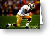 Cave Greeting Cards - RG3 - Tebowing Greeting Card by Paul Ward