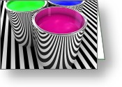 Lacquer Greeting Cards - Rgb Paint Tank Greeting Card by Gualtiero Boffi