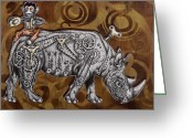 Surrealism Drawings Greeting Cards - Rhino Mechanics Greeting Card by Iosua Tai Taeoalii