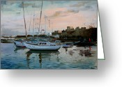 Rhodes Greece Greeting Cards - Rhodes Mandraki Harbour Greeting Card by Ylli Haruni
