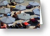 Rhodes Greece Greeting Cards - RHODES Umbrellas at Anthony Quinn Bay Greeting Card by Lorraine Devon Wilke