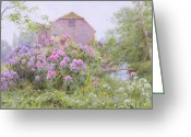 Purple Flowers Greeting Cards - Rhododendrons by a watermill Greeting Card by George Marks