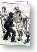 Baseball Drawings Greeting Cards - Rhubarb Greeting Card by Mel Thompson