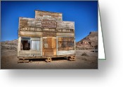 Ghost Town Greeting Cards - Rhyolite Mercatile Greeting Card by Peter Tellone