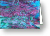 Music Inspired Art Greeting Cards - Rhythmic Waves Greeting Card by Linda Sannuti