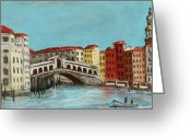 Stone Pastels Greeting Cards - Rialto Bridge Greeting Card by Anastasiya Malakhova