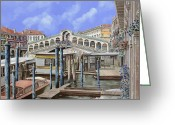 Venice - Italy Greeting Cards - Rialto dal lato opposto Greeting Card by Guido Borelli