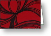 Marker Paper Drawings Greeting Cards - Ribbon on red Greeting Card by HD Connelly