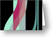 Curved Lines Greeting Cards - Ribbons Greeting Card by Bonnie Bruno