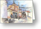 Streets Drawings Greeting Cards - Ribera del Duero in Spain 12 Greeting Card by Miki De Goodaboom