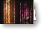 Washington Cathedral Greeting Cards - Rich Color Projected From Stained Glass Greeting Card by Stephen St. John