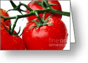Green And White Greeting Cards - Rich Red Tomatoes Greeting Card by Kaye Menner