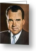 Nixon Greeting Cards - Richard M. Nixon Greeting Card by Granger