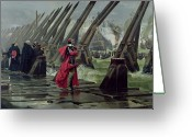 Galleons Greeting Cards - Richelieu Greeting Card by Henri-Paul Motte